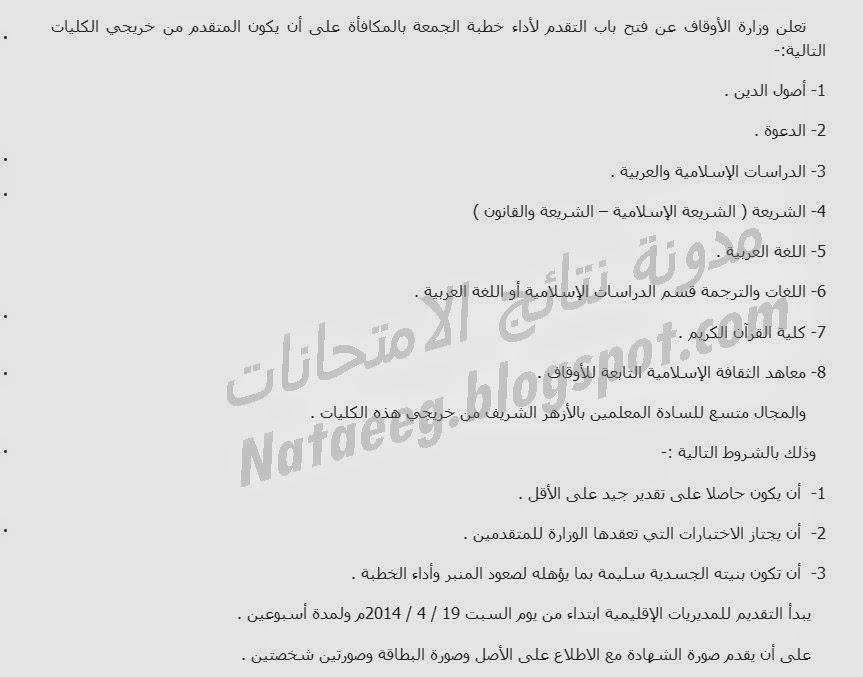 مسابقة وزارة الاوقاف المصريه خلال شهر ابريل 2014 تفاصيل وشروط المسابقه بالصور