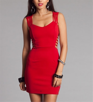 Red Fitted Cutout Dresses