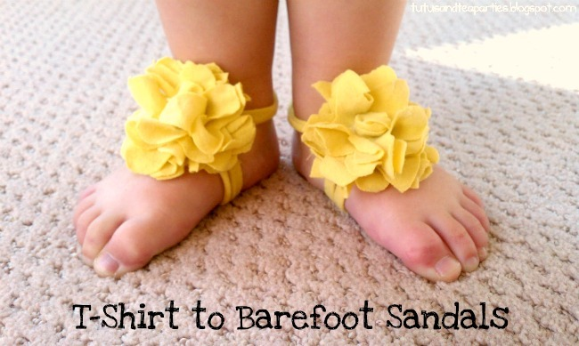 T Shirt DIY Baby sandals on UpcycleFever