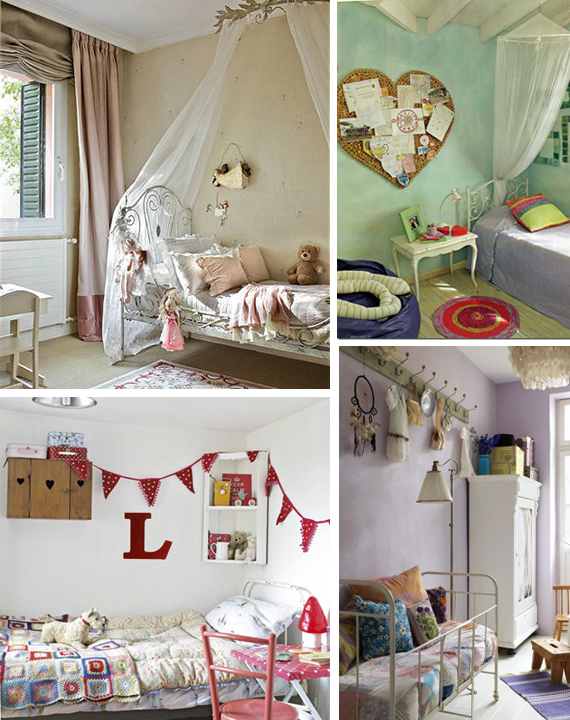 dormitorios para ni as estilo vintage con camas de hierro