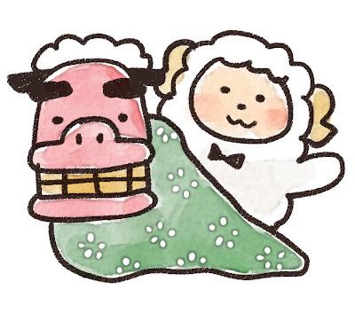 獅子舞と羊のイラスト(未年)