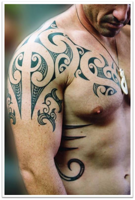 Awesome Shoulder and Chest Tattoo Design for Men 2011-12