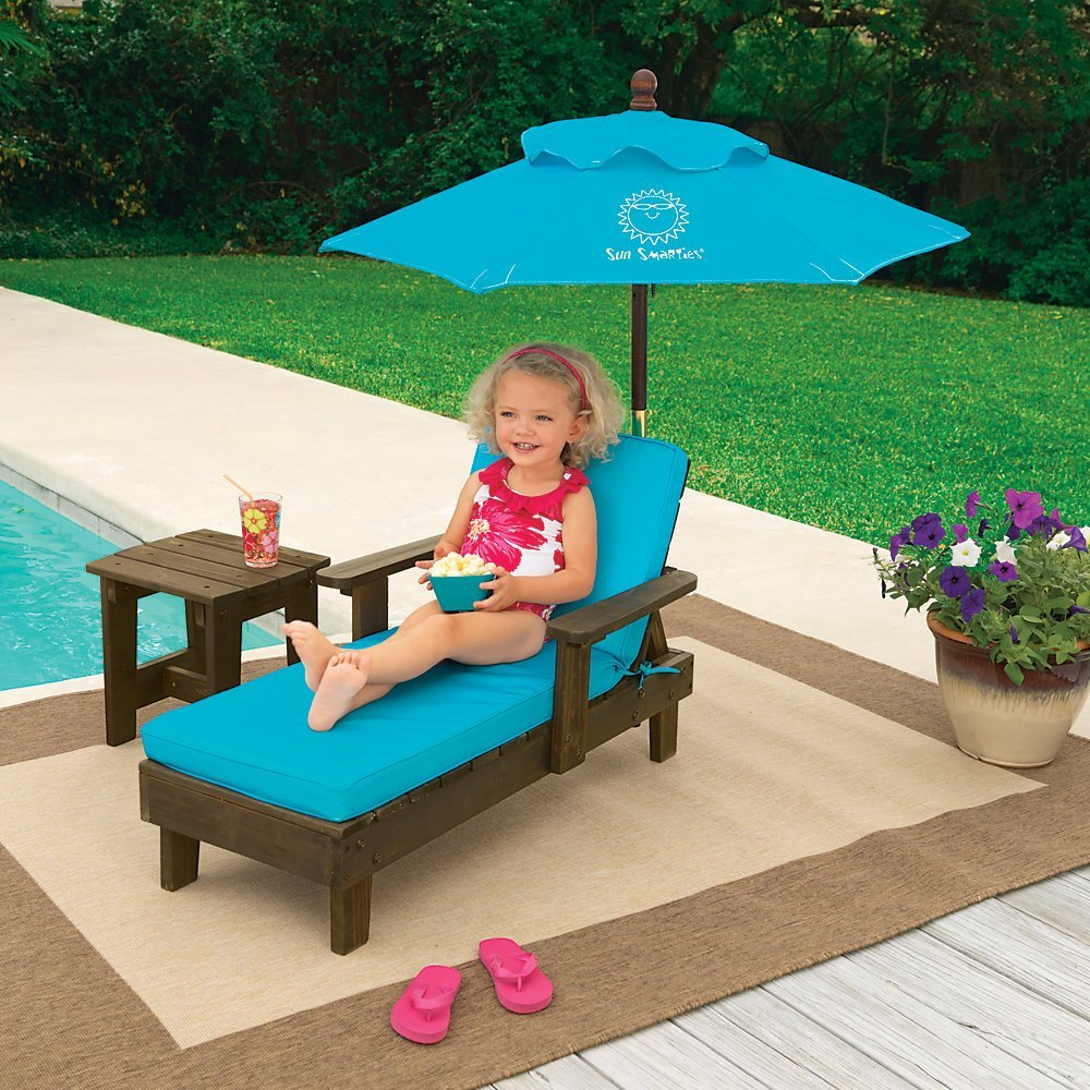 One Step Ahead Sun Smarties Outdoor Chaise With Umbrella And Table Turquoise Patio Furniture