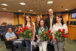 Las premiadas,  Andreu Casero, Jurado, y Amparo Garrigues, directora de la Unitat d' igualtat