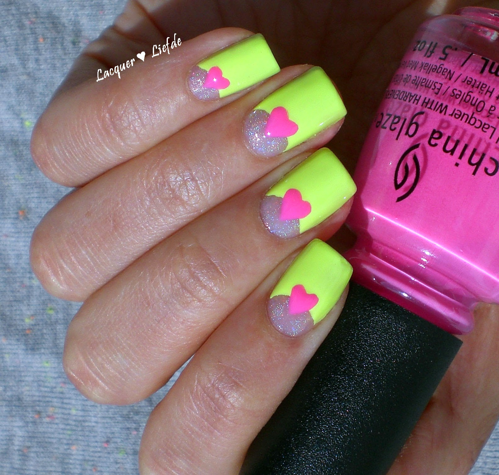 Neon half Moon Design Orly Key Lime Twist and China Glaze Glow with the FLow