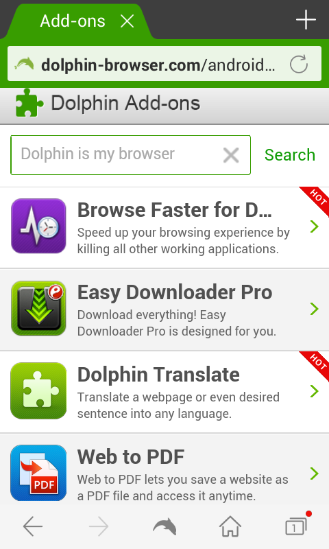 Dolphin Browser for Android - Add-ons