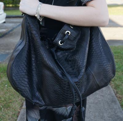Sarah Conners ebony python tote bag