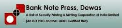 Bank Note Press Dewas Vacancy 2014