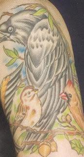 Tatuagem pássaro cor no ombro