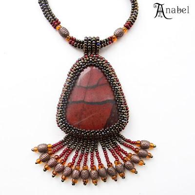 купить кулон из бисера с яшмой, украшения с натуральными камнями ручной работы Anabel