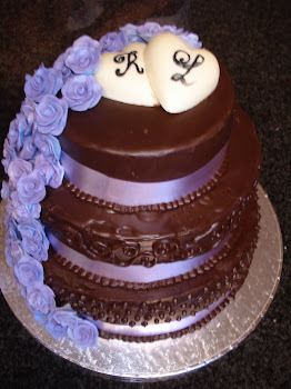 Purple Rose &amp; and Chocolate Ganache Cake