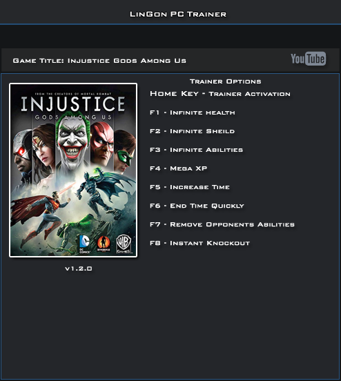 Injustice Gods Among Us v1.2.0 Trainer  +8 [LinGon]