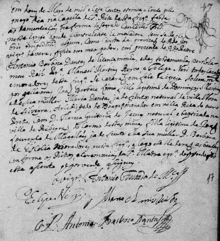 Reg. de casamento de João Barbosa Lima com Thereza Quitéria de Jesus Sandoval