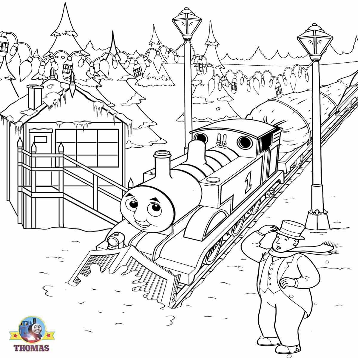 Thomas christmas coloring sheets for children printable for Train coloring book pages