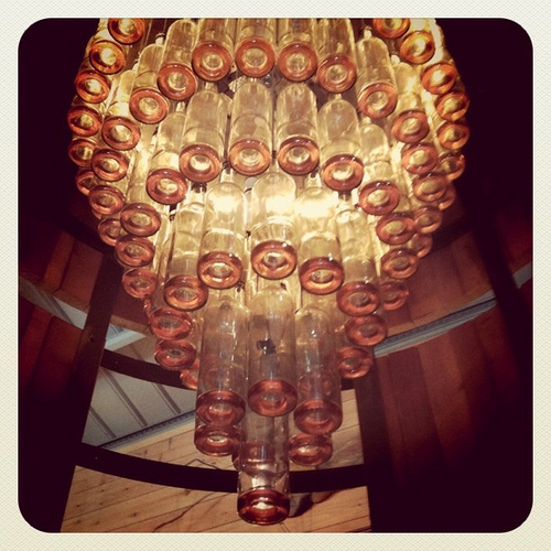 A smile a day bottlelicious chandeliers made out of for Things made from wine bottles