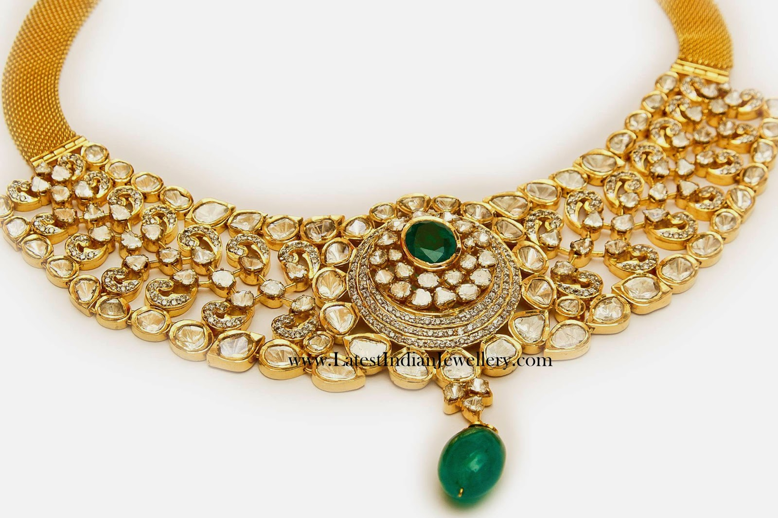 Polki Diamond Emerald Choker Necklace