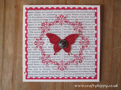 Stampin' Up! Red Glimmer Paper, Elegant Butterfly Stamp, Antique Brad