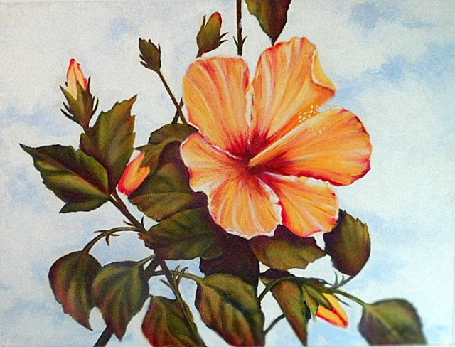 Flor de hibisco pintura al óleo