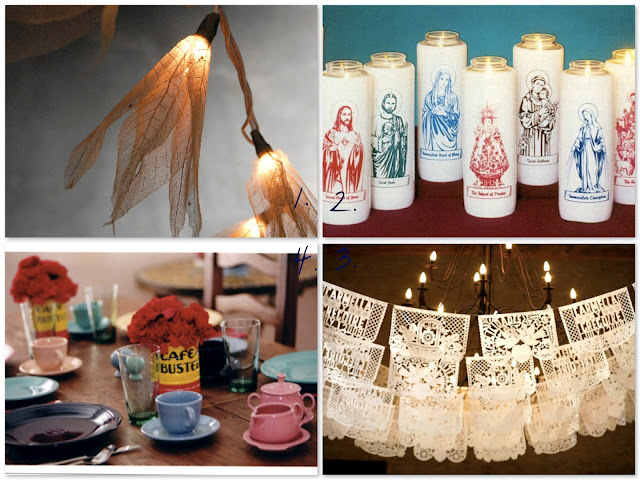 saint votives, lighting strings, fiestaware, papel picado for weddings, white wedding decorations, fiesta inspired wedding, Catholic wedding, Catholic marriage prep, Catholic wedding blog,Catholic wedding planning, Catholic bride