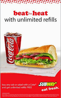 Buy any Sub or Salad with a Coke and Get unlimited refills FREE – SUBWAY