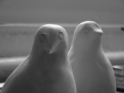 sculpted birds in air-drying clay