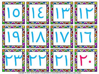 بطاقات الأرقام العربية نسخة ملونة arabic numbers colored