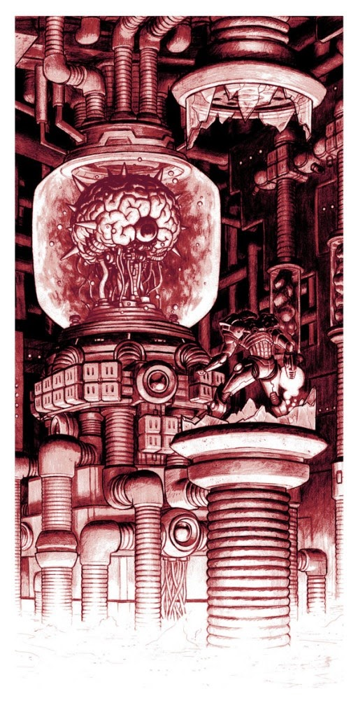 Boss Fight! Video Game Themed Print Series by Nick Derington - The Brain Metroid Screen Print