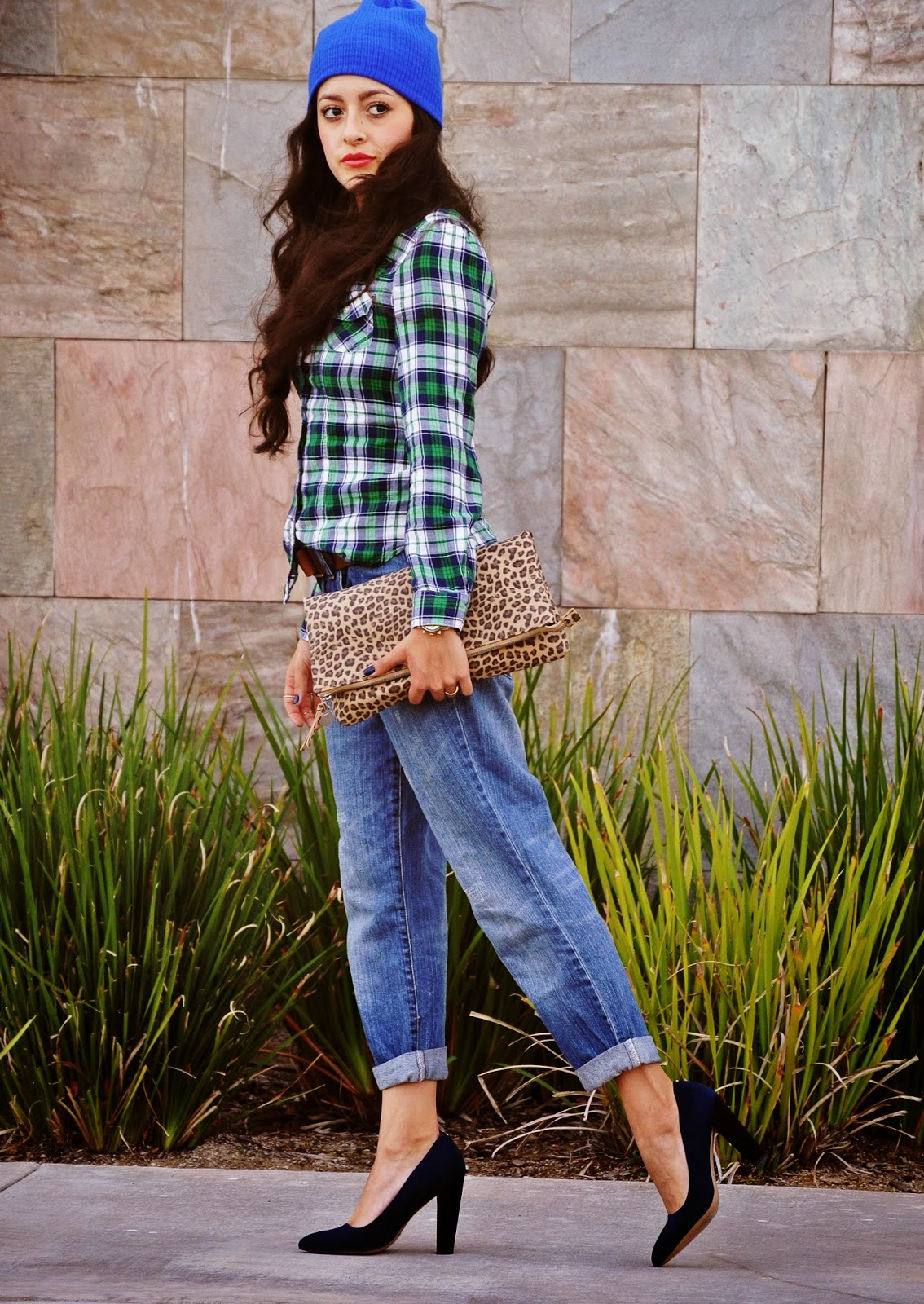 plaid shirt boyfriend jeans