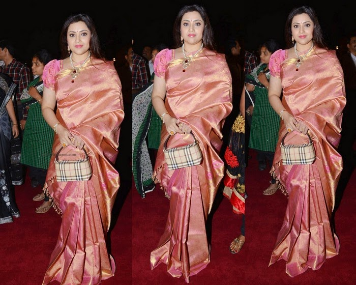 Meena Peach Color Silk Saree