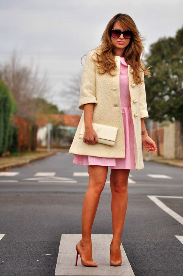 Baby Pink Dress With Banana Mania Coat And Nude Shoes