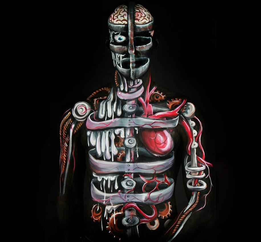 Lukisan Tubuh Manusia Merubah Orang Menjadi ROBOT