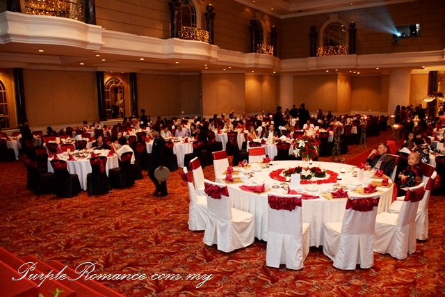 Red Black Lace Wedding Decoration at Renaissance Hotel Kuala Lumpur, ballroom