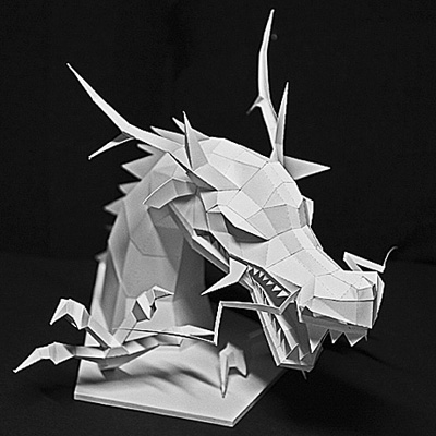 Dragon head figure paper model 2012 pepakura corner for Cardboard dragon template