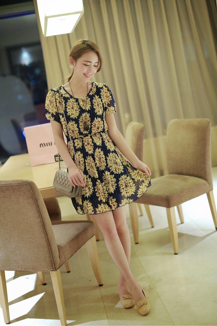 Baju: Dress Navy Sunflower