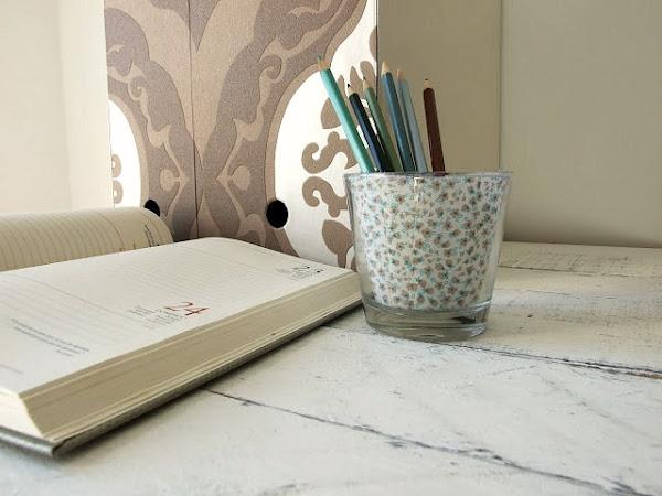 DIY , portavelas o portalápices decorado con tela