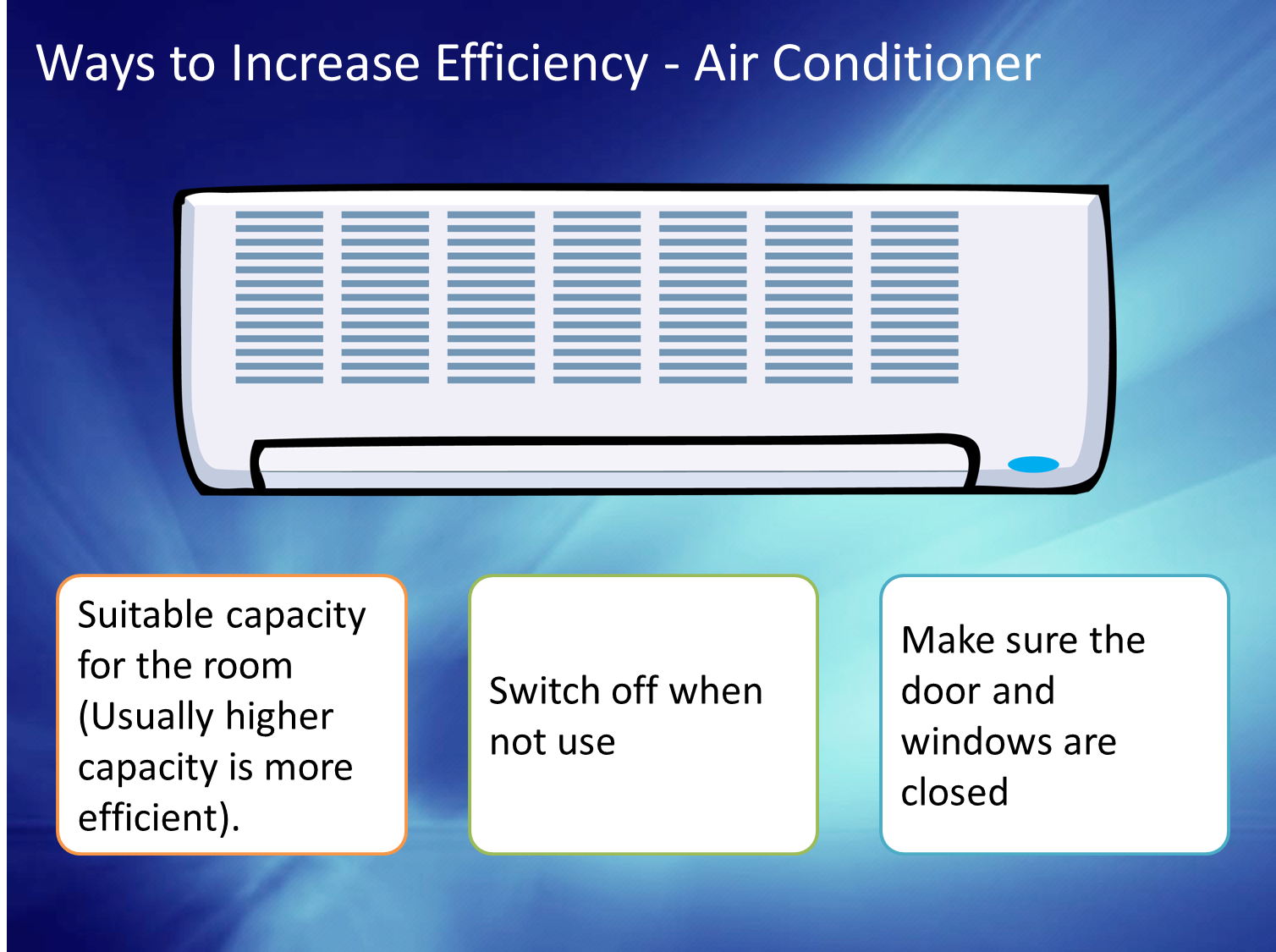 switch off the air conditioner when not in use buy the air conditioner  #17257B