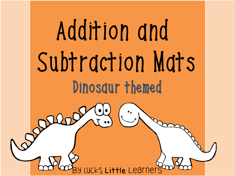 http://www.teacherspayteachers.com/Product/Dinosaur-Addition-and-Subtraction-Mats-1518512
