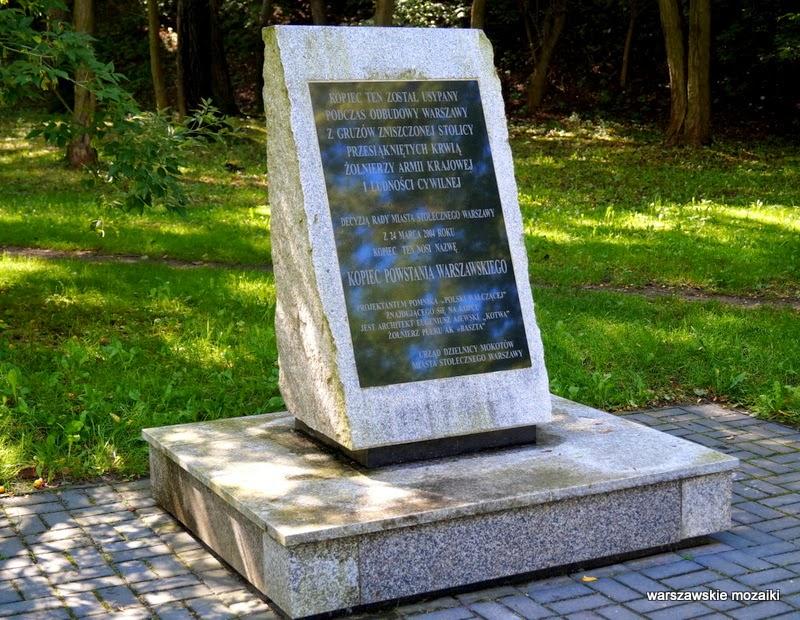 Warszawa Mokotów wzniesienie gruzy Powstanie Warszawskie Polska Walcząca Eugeniusz Ajewski pomnik