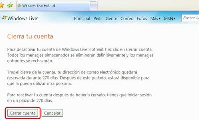 """""""Cancelar cuenta Hotmail"""""""