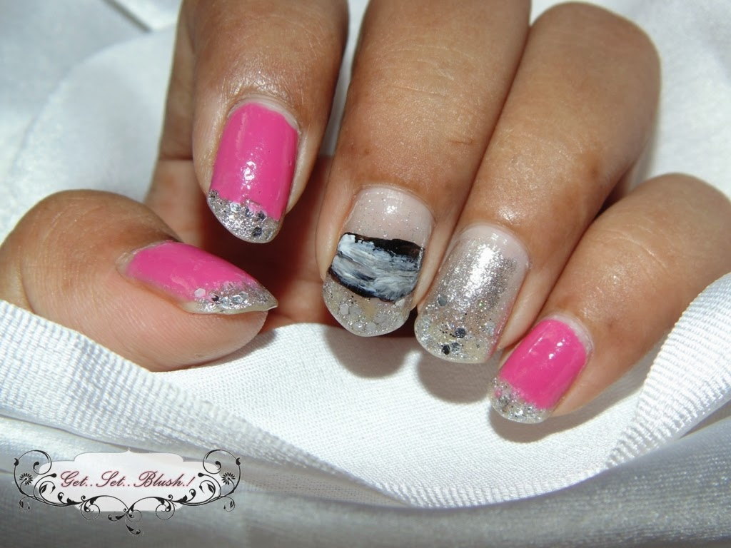 Pink And Silver Glitter Nails French Style Glitter Nail Art Get