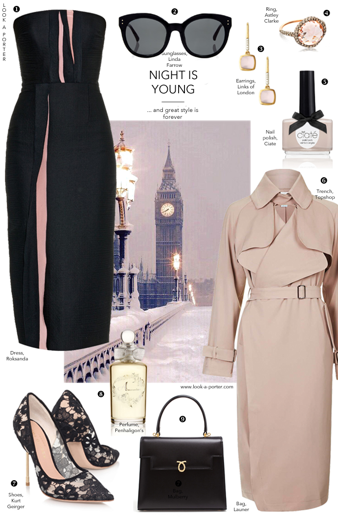 Outfit inspiration for a dinner party or special occasion, styled with British designers and classics. Elegant minimalism. via www.look-a-porter.com style & fashion blog, outfit inspiration delivered daily