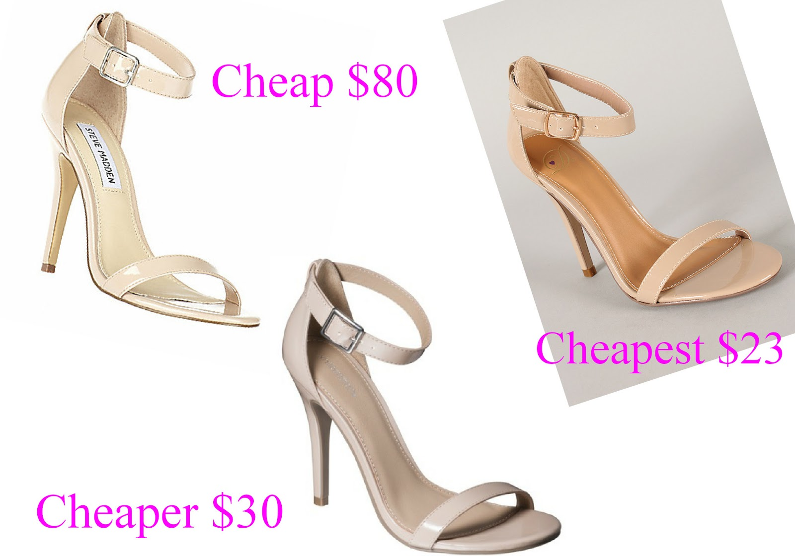Cheapalicious: Cheap Cheaper Cheapest: Nude ankle strap heels