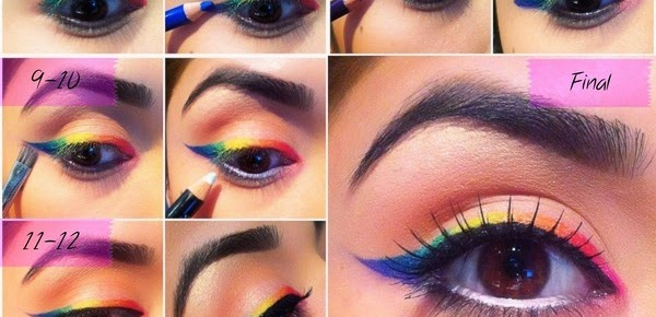 raibow colored eyeliner tutorial with painting pencils