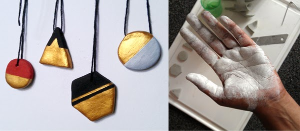 Happinessis... black and gold handmade clay jewellery