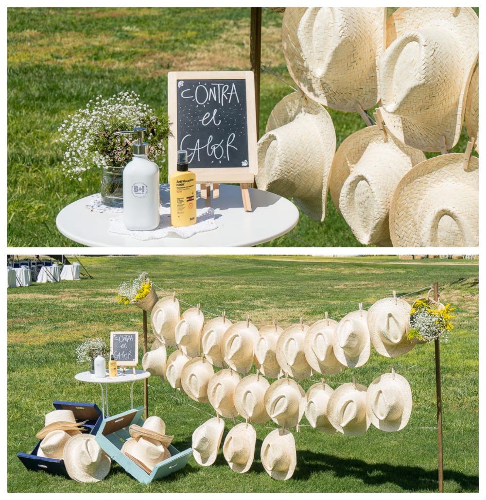 Sombreros y crema solar para tu boda