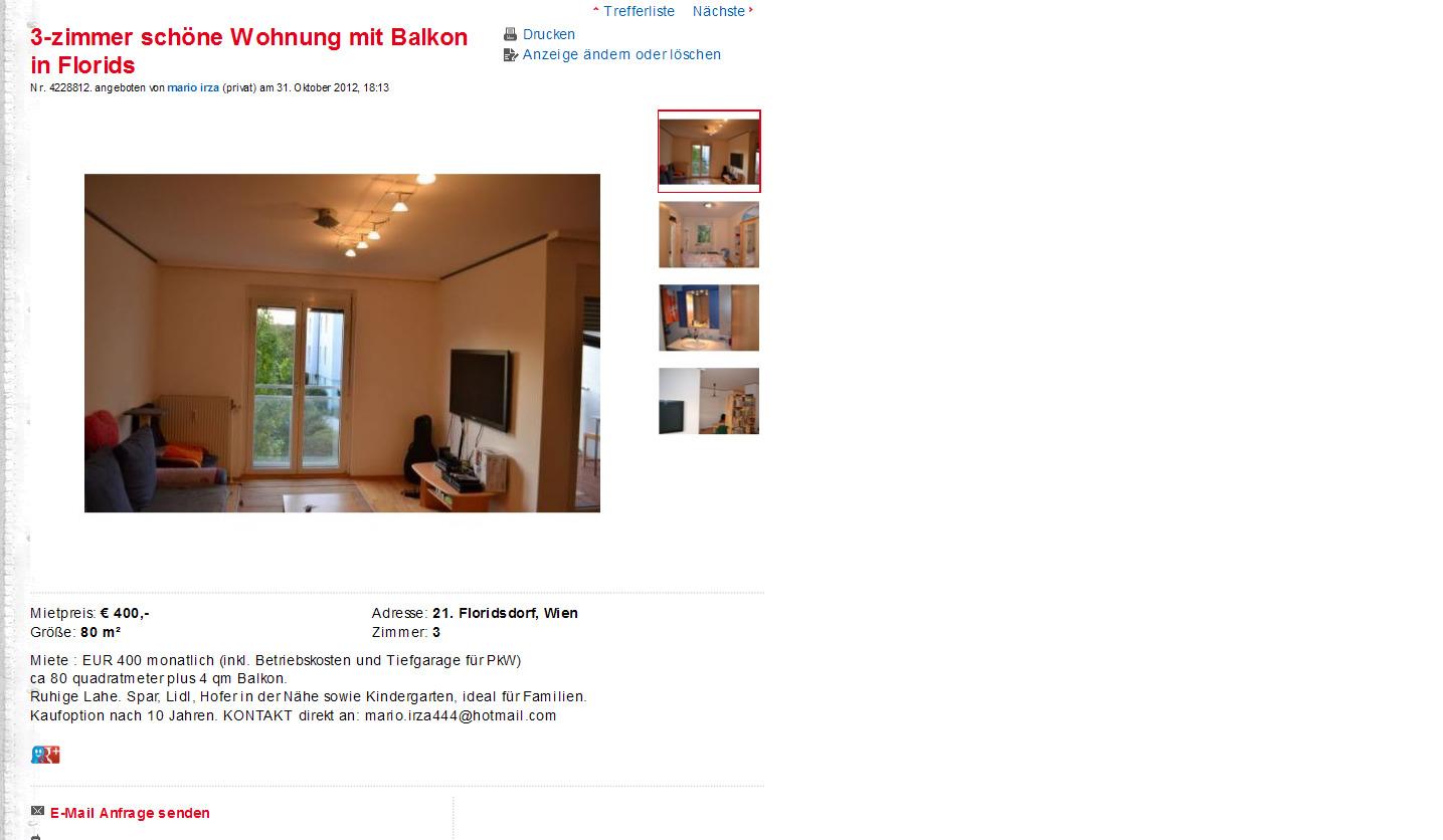 3 zimmer sch ne wohnung mit balkon in floridsdorf ocwirkgasse 1210. Black Bedroom Furniture Sets. Home Design Ideas