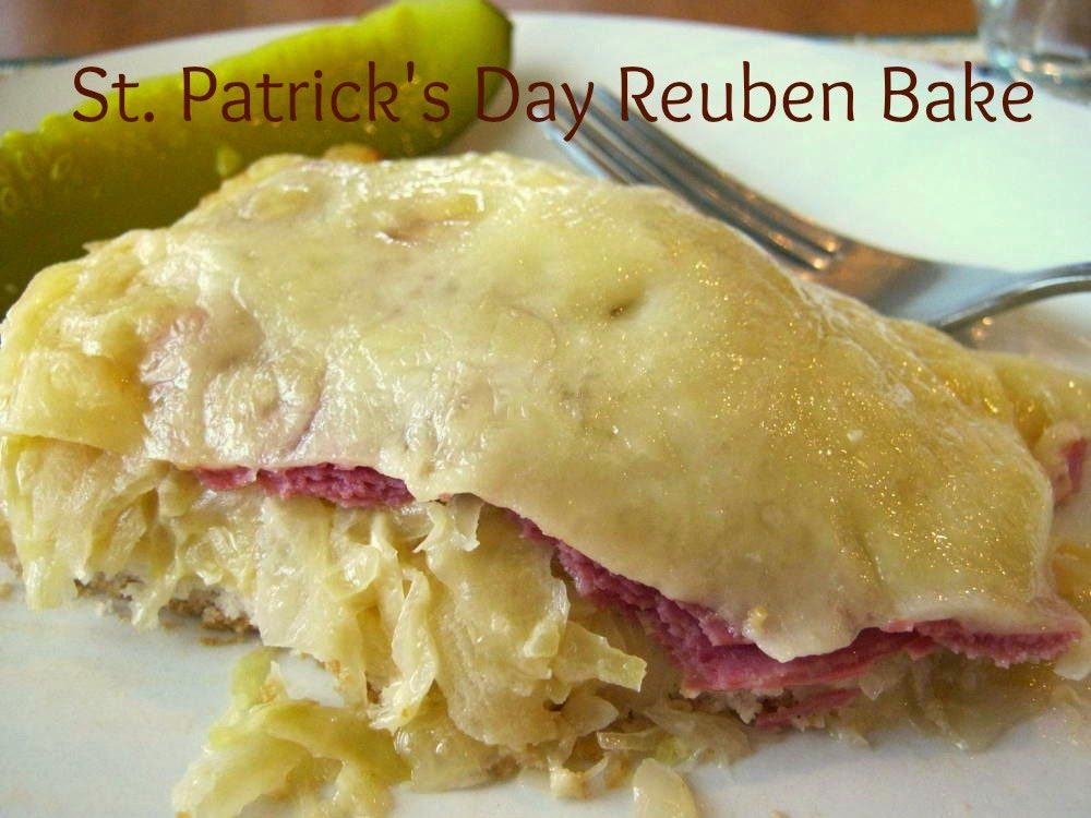 St Patrick's Day Reuben Bake with Bisquick, corned beef, sauerkraut, and 1000 island dressing topped with Swiss cheese