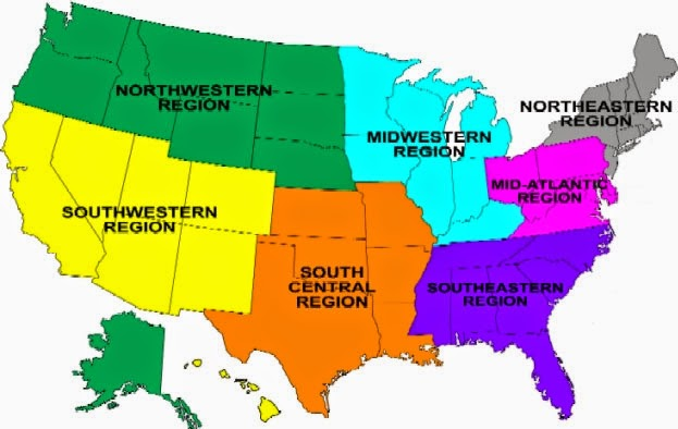 Map Of The South Us Region Globalinterco - The us regions map