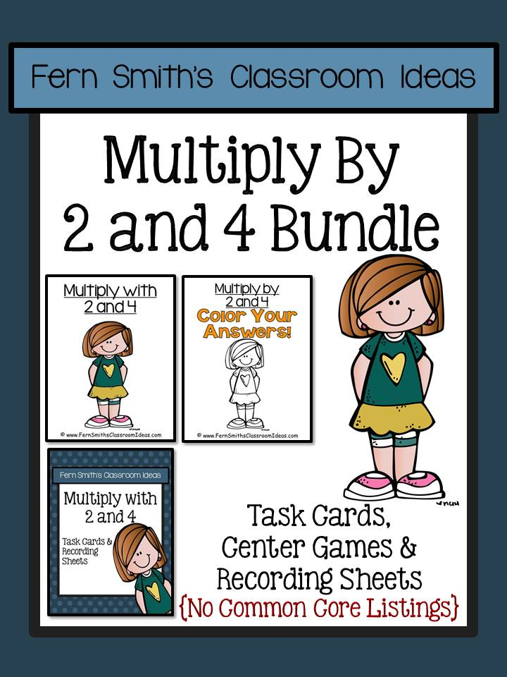 Fern Smith's Classroom Ideas Multiply with 2 and 4 Task Cards Recording Sheets & Centers Bundle