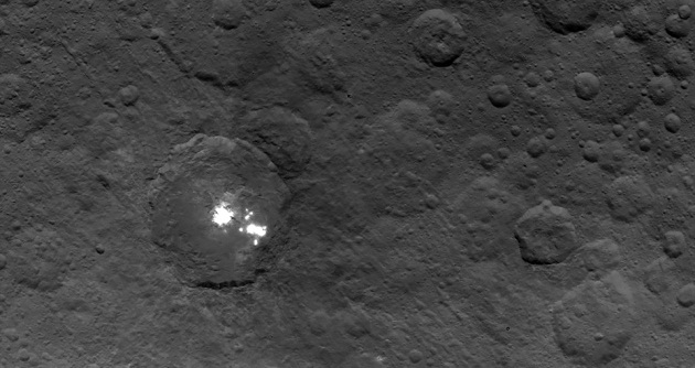 The brightest spots on dwarf planet Ceres are seen in this image taken by NASA's Dawn spacecraft on June 6. Credit: NASA/JPL-Caltech/UCLA/MPS/DLR/IDA